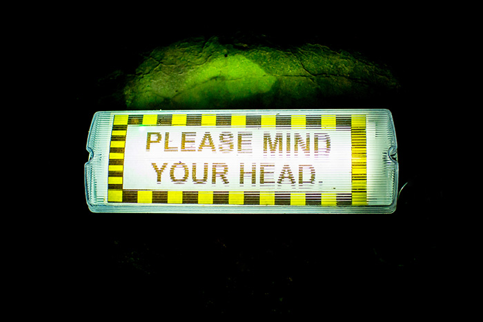 Please mind you head on the way out...