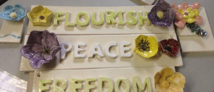 flourish peace and freedom art piece