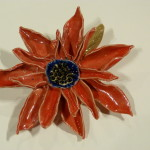 Red ceramic flower