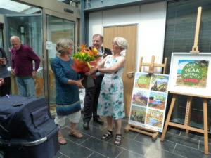 Peak District Train Porject. Alison receiving flowers.