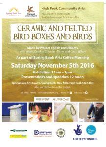 Ceramic & Felted Bird Boxes & Birds @ Spring Bank Arts Centre | New Mills | England | United Kingdom
