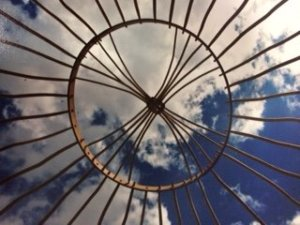 Blue sky through the yurt top