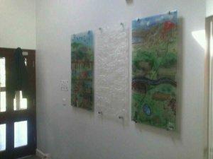 3 fused glass panels